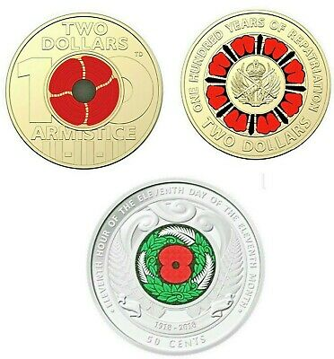 2019 $2 100 years repatriation - 2018 $2 Remembrance Day - 2018 NZ Armistice 50c