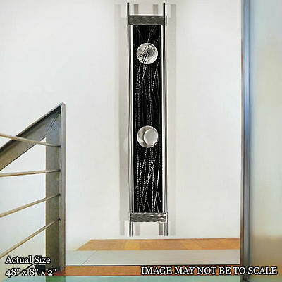 "Metal Wall Clock 48"" Black Silver Pendulum Wall Clock Metal Art Decor Jon Allen"