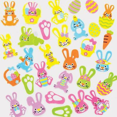 20 Assorted Bright Foam Easter Bunny Stickers Embellishments Craft Card Making