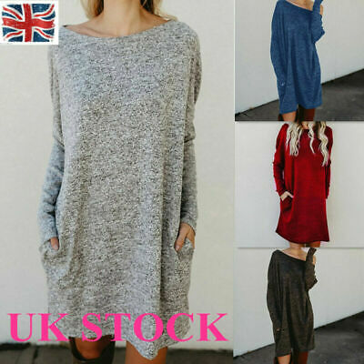 UK Womens Knitted Long Sweater Dress Jumper Ladies Winter Top Pullover plus size