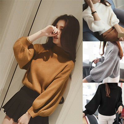 Women's Sweaters Fashion Turtleneck Long Sleeve Pullovers'Loose Knitted TOP