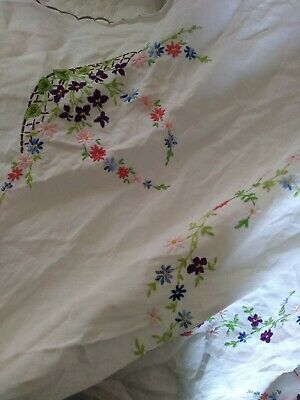 ,Vintage Pretty Hand Embroidered Tablecloth,  40 x 40