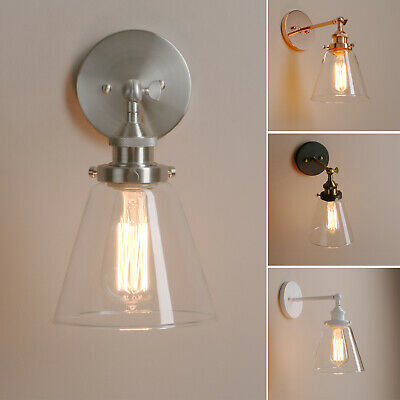 """6.4""""Funnel Clear Glass Retro Industrial Wall Lamp Sconce Loft Up Down Wall Light"""