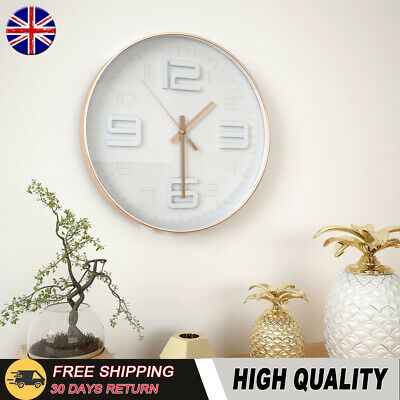 Large Round Wall Clock Copper Brim Look 30 cm Home Office Decor Clear Number