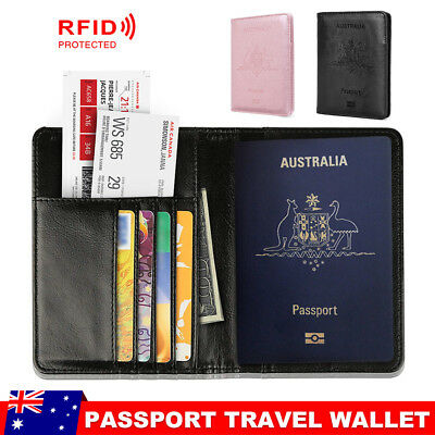 RFID Blocking Passport Cover Travel ID Cards Holder Case Leather Wallet
