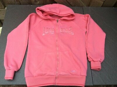 Lonsdale Girls Candy Pink Hooded Zip Up Sweatshirt/Hoodie/Pockets 11-12 Yrs.
