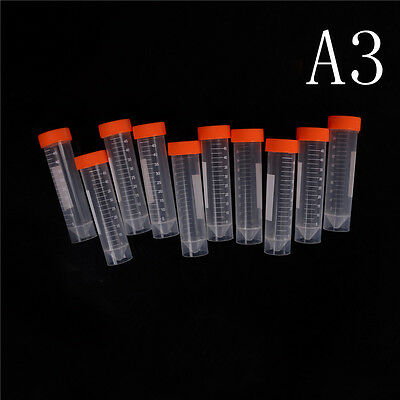 10Pcs 50ml Plastic Centrifuge Tube Pipe Vial Lab Test Container With 4 Bot YN