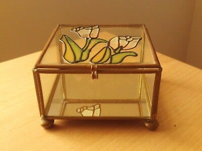 Vintage Square Hand Painted Enamel on Glass Metal Mirrored Trinket Box