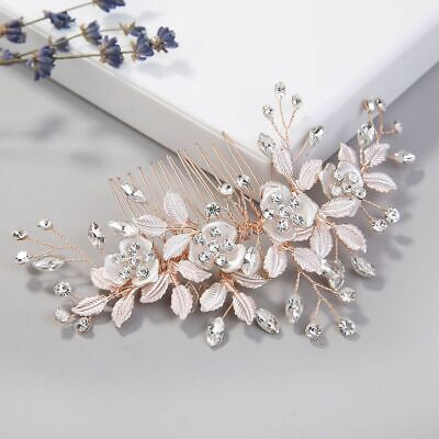 Rose Gold Hair Combs Hairpins Clips Crystal Handmde Flower Bridal Accessories