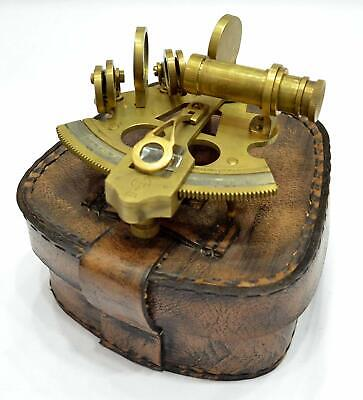 Antique Style Solid Brass Ship Sextant with Leather Box. Handmade Style Gift