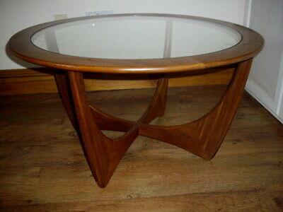 G Plan Teak Astro Round Mid Century Glass Top Coffee Table
