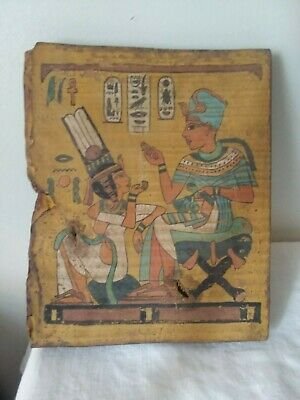 "Fresco Replica Ancient Egypt on distressed wood 8 1/4 x 9 3/4"" X 1"""