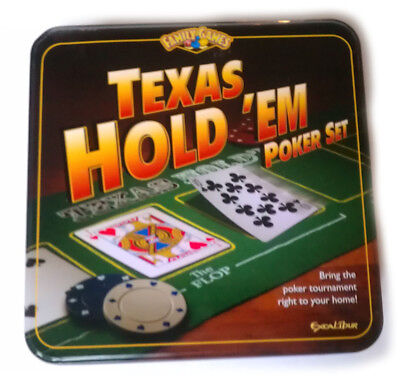Texas Holdem Poker Set by Exalibur Playing Surface Card Decks Chips Dealer Butto