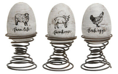 Primitive Country Farm Eggs Decorative Wood Eggs on Springs FREE SHIP