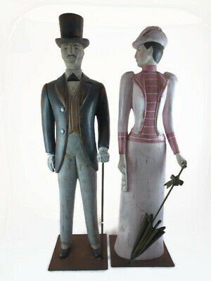 Sarreid Italian Wood Carving Victorian Man w/ Cane & Woman w/ Parasol Set Pair