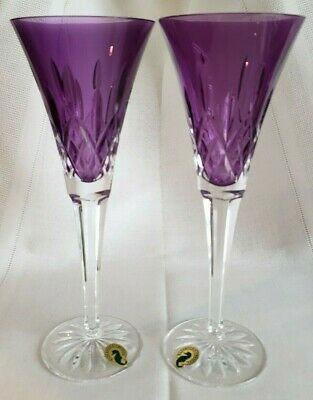 """Waterford Crystal Lismore Set of 2 Amethyst Champagne Toasting Flutes 9 3/8"""""""