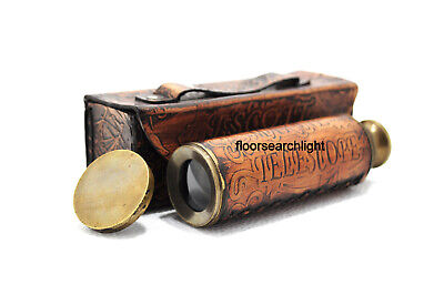 Nautical Solid Brass Telescope With Leather Box Pirate Working Ship Spyglass