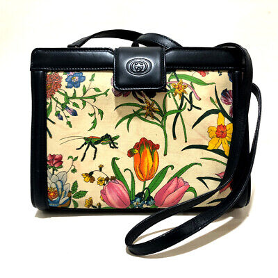 113bf26ba49 AUTHENTIC GUCCI Floral pattern GG Shoulder Bag Navy x Multicolore 004113