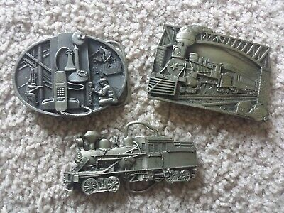 Vintage 1983 1988 BELT BUCKLES Lot of 3 Bergamot, Siskiyou, Train, Telephone
