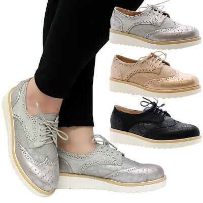 Ladies Womens Casual Lace Up Studs Brogue Loafers Office School Pumps Shoes Size