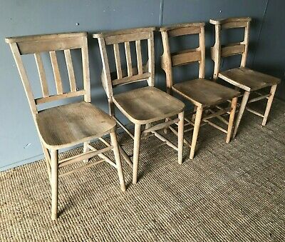 4 x Rustic Antique Vintage Victorian Stripped Pine Chapel Chairs Kitchen Dining