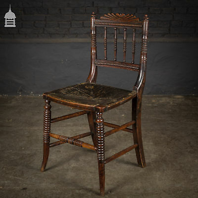 Set of 4 Continental Bobbin Turned Oak Dining Chairs