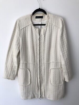 ZARA WOMAN XL 14 Cream tweed look designer inspired fringe