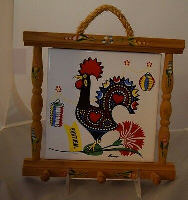 Vtg Bohemian Portugese Chicken Rooster Tile Wallhanging Portugal Souvenir Nuanca