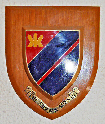 Vintage Crown Agents mess wall plaque shield crest