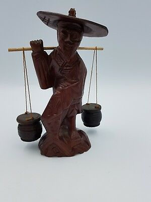 Vtg Chinese Hand Carved Wooden Figurine Ornament Old Fisherman Rod Buckets Fish