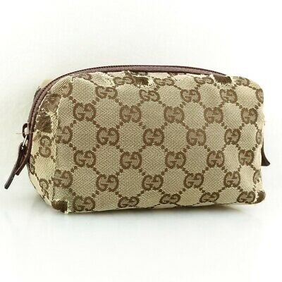 f3d9f9f20f8 Auth GUCCI GG Pattern Canvas Cosmetic Pouch Purse 29595 Beige Bordeaux