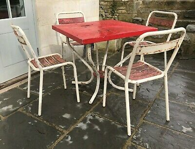 Retro 1950s French Cafe Garden Table & Chairs Shabby Industrial Tubular Steel