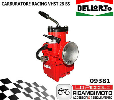 09381 Carburatore Dell'orto Vhst 28 Bs 2T Racing Red Valvola Piatta Aria Manuale