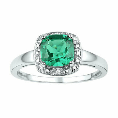 Sterling Silver Womens Cushion Lab-Created Emerald Solitaire Diamond Ring 1-3/4