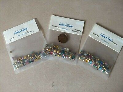 Lot  of 3 packs of vintage (most foiled) assorted rhinestones Free Shipping