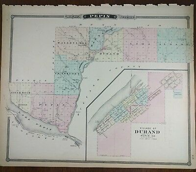 Vintage 1877 (dated) PEPIN COUNTY WISCONSIN Map ~ Old Antique Original DURAND