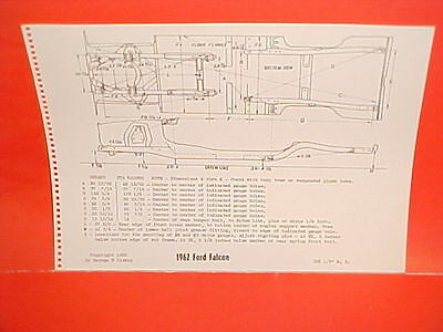 1962 Ford Falcon Futura Coupe Ranchero Sedan Station Wagon Frame Dimension Chart