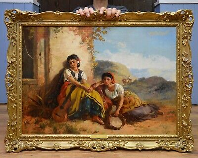 Large Fine Antique 19thC Landscape Oil Painting of Beautiful Spanish Gypsy Girls