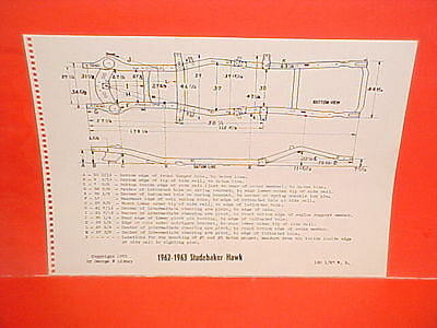 1962 1963 Studebaker Grand Turismo Hawk Gt Hardtop Coupe Frame Dimension Chart