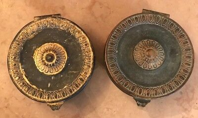 PAIR DECORATIVE ANTIQUE FRENCH ORMALU / BRASS HEATING COVERS c1890
