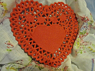 10 💝PCS 4 IN ROSE LACE HEART RED PAPER DOILIES CRAFTS love cards FREE SHIP