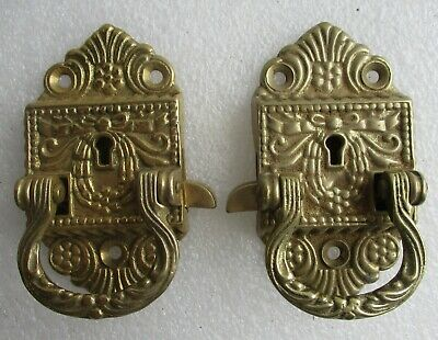 Ornate Pair Cast Brass Antique Style Ice Box Hinges 1 Left + 1 Right Replacement