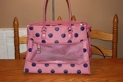 Bueno Pink Polka Dot Mesh Soft Side Pet Carrier Tote