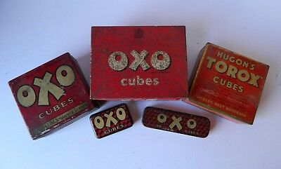 5 Vintage Oxo/Stock Cube Tins