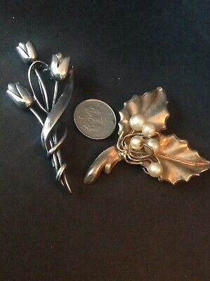 2x Silver Brooches
