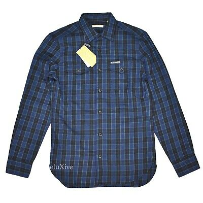 NWT $395 Burberry Mens Blackwatch Plaid Button Down Wool Flannel Shirt AUTHENTIC