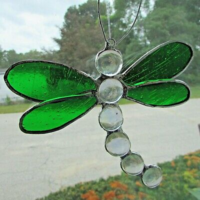 Stained Glass Dragonfly Suncatcher - Green Wings - Iridescent Body - Hand Made