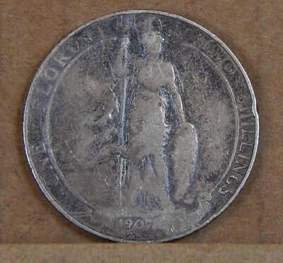1907 Edward VII Florin 2 Shillings 92.5% Silver uk Coin