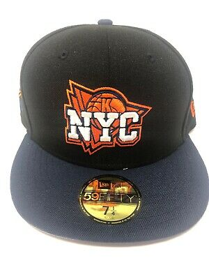 reputable site ad882 fd115 New York Knicks New Era 59Fifty Fitted Hat 7 1 4 Black And Blue Classic