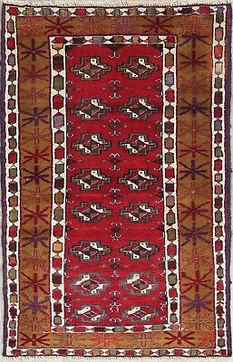 RED Geometric 3x4 Afghan Rug Oriental Hand-Knotted Kitchen Rug 100%Wool